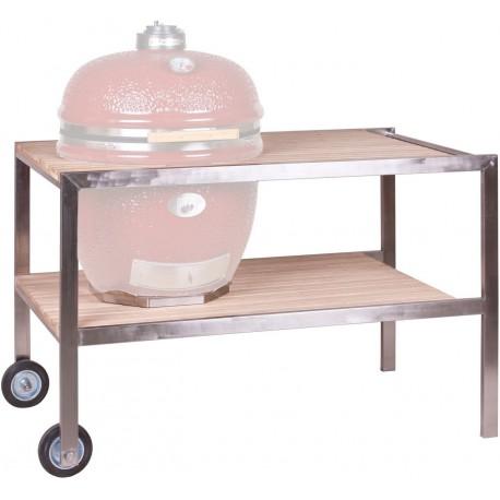 Le Chef - RVS tafel met teakhout (140x80x90cm - lxbxh)
