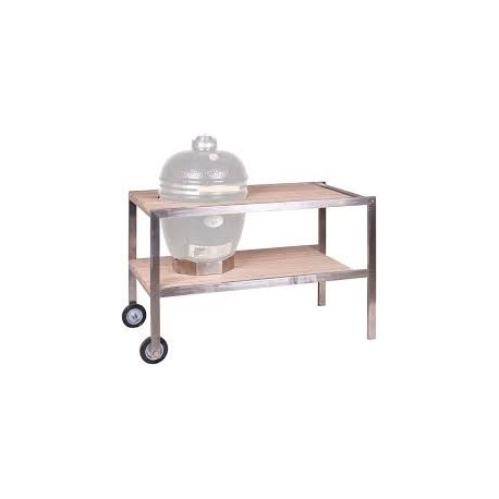 CLASSIC - RVS tafel met teakhout